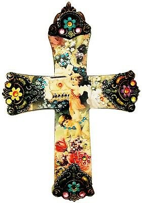 Michal Negrin Victorian Style Greeting Swarovski Crystals Large Wall Decor Cross