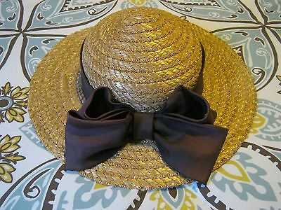 Laura Ashley Vintage Women's Summer Straw Hat Dark Burgundy Ribbon Hat Band Med
