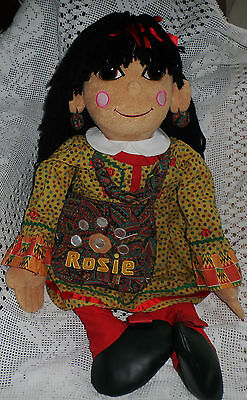 "Huge 30"" Rosie Cloth Doll Ragdoll with Bag , Necklace & Earrings Rosie & Jim"