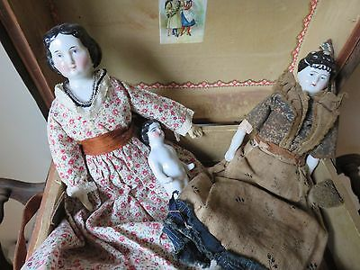 Antique China Head Doll in Doll Trunk 1800's