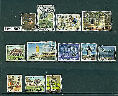 Lot 1507..Zambia..selection of 12 used stamps from various years