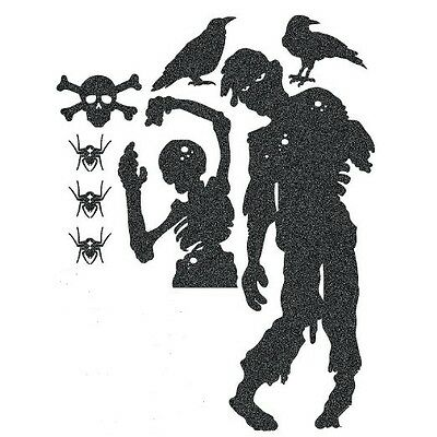 Halloween Glitter Silhouettes Zombies Skulls Crows Spiders 16 ct Two Sets of 8