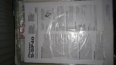 Pioneer S-SP40 5 Speaker System Instruction Manual (mint condition)