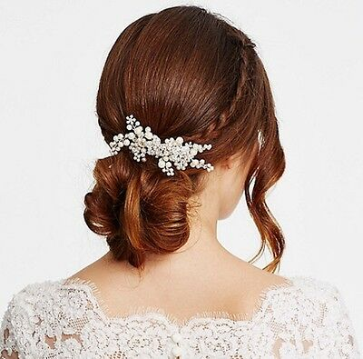 BNWT Jon Richard Crystal Flower and Pearl Hand Wrapped Hair comb- Bridal Hair