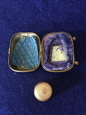 Thimble Case with Gold Thimble