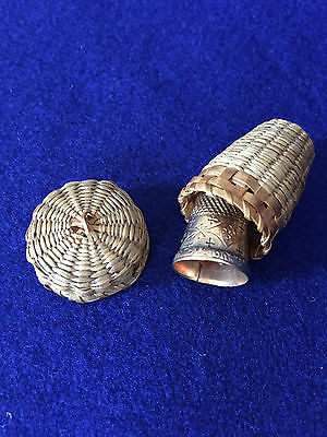 Thimble Case Basket with Gold Thimble