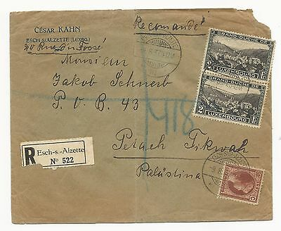 LUXEMBOURG 1937 REGISTERED COVER Esch-s-Alzette to Palestine/Israel