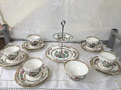 Duchess Indian tree 5 X Cups, Saucers, Plates, Cake Stand And Sugar Bowl