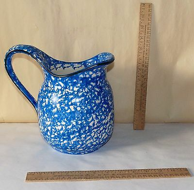 Stangl Pottery large PITCHER - Town and Country BLUE - Sponge style pattern