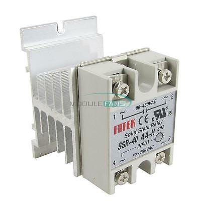 40A SSR-40AA-H Solid State Relay Module 80-280V AC / 90-480V  Aluminum Heat Sink
