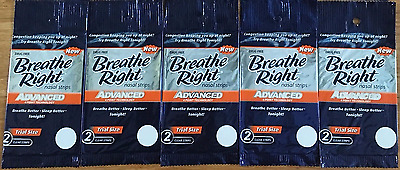 10 BREATHE RIGHT Nasal Strips ADVANCED Adult Size Nose Band Stop Snoring Breath