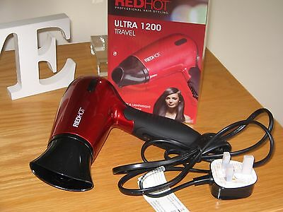 Red Hot 1200W Compact Folding Travel Hairdryer Dual Voltage Hair Blow Dryer