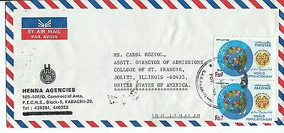 Pakistan Commercial Air Mail Cover  World Population Day Pair & Gordon College