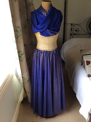 Belly, Bollywood, Full Circle Dance Costume Blue Purple Size M/L