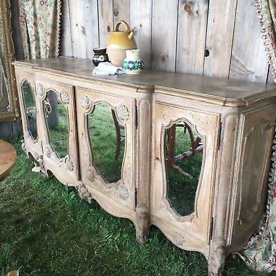 Large French Antique Bleached Oak Buffet Enfilade Parquet Top and Mirror Panels