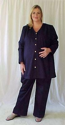 Plus size maternity 2 pc navy gabardine suit jacket top pants size 26 NWOT