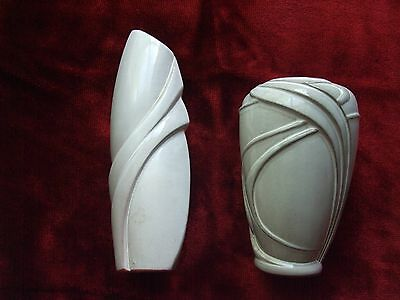 Two Beautiful Hand-crafted Artisan Pottery Vases Milk White and Faint Grey