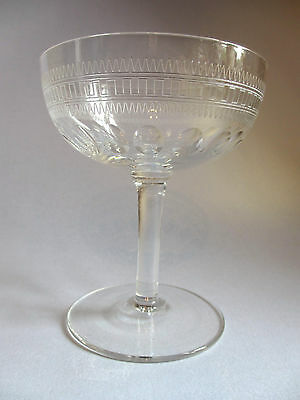 Single Lead Crystal Edwardian Cut And Engraved Champagne Saucer