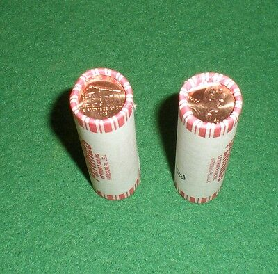 """2009-P&D Lincoln Cent Rolls """"Log Cabin"""" N.F. String Uncirculated Bank Rolls"""