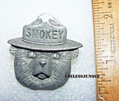 Smokey The  Bear Hat Pin Pewter