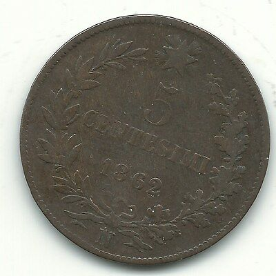 A Very Nice Vintage 1862 N 5 Centesimi Italy Coin-Jun510