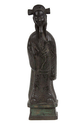 china 17. Jh. A Chinese Bronze Figure of a Confucian - Statuette Chinois Cinese
