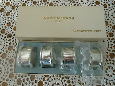 FB Rogers Silver Co Set of 4 Silver Plated Round Traditional  Napkin Rings Box