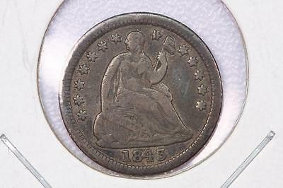 1843 H10C Liberty Seated Half Dime, Repunched Date. Very Good Circulated #2136
