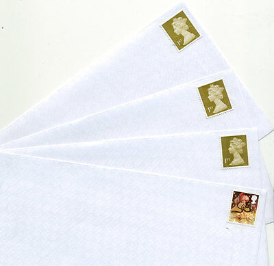 100 1st class completely unfranked assorted stamps on new white DL envelopes