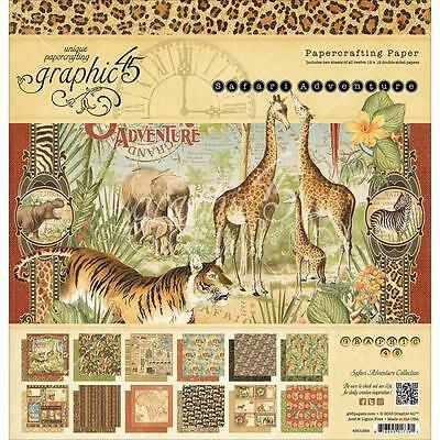 "Graphic 45 Papercrafting Safari Adventure 12""x12"" Paper Pad 24 sheets 4501369"