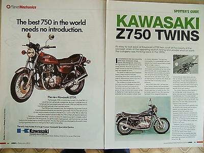 Spotters guide on the Kawasaki Z750 1976-1984 and advert.