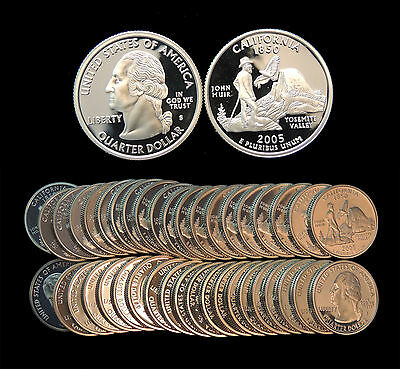 Roll of 40 2005-S Proof California 90% Silver Quarters