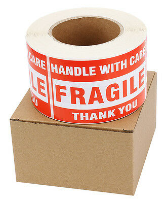 500 3x5 Fragile Stickers Handle with Care Thank You Mailing Labels Self Adhesive