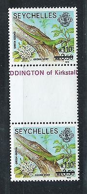 SEYCHELLES Sc# 446 PAIR TIED TO SELVAGE MNH REVALUED GREEN GECKO 1979 SERIES
