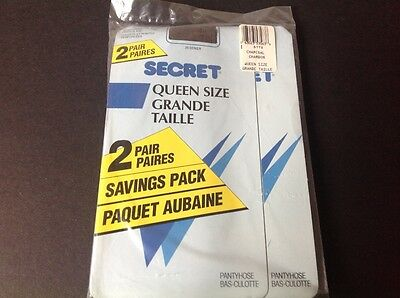 Secret Womens Vintage Pantyhose Charcoal Queen Size 2 In Package