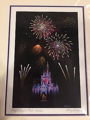 """Disney Parks Magic Kingdom """"Wishes"""" 2016 Matted 7x10 Giclee Printby Larry Dotson"""