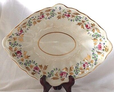 Early C19Th Derby Hand Painted Diamond Shaped Dish With Flowers And Gilding