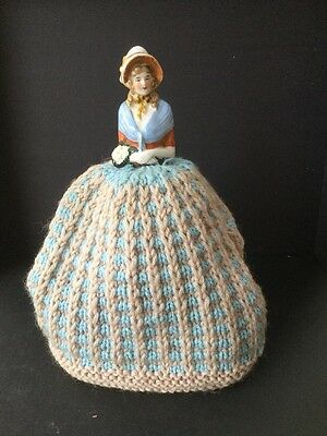 Vintage Knitted Tea Cosy With Half China Doll/crinoline Lady Pre Owned