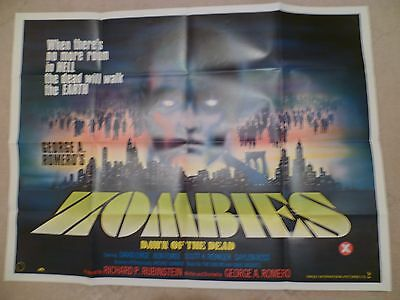 ZOMBIES DAWN OF THE DEAD 1984 -  FIRST RELEASE UK QUAD POSTER .30 x 40
