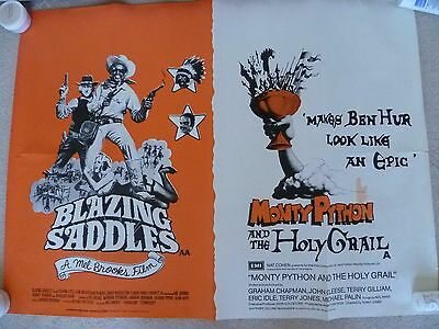 Blazing Saddles /monty Python And The Holy Grail  -Uk Quad Poster 30 X 40