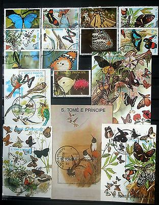 (H107) St. Tome & Principe Butterflies, some Birds pre-cancels NH OG