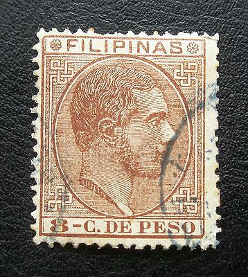 (H006) Philippines Spanish Dominion 1880-86 8c yellow brown Scott 83 used NG