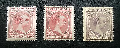 (H025) Philippines Spanish Dominion 1892-97 stamps Scott 143-145 MH