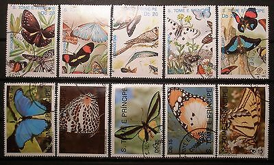 (H095) St. Tome and Principe Butterflies and Birds pre-canceled OG