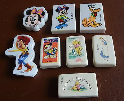 Rubber / Eraser - 8 Different Disney Rubbers - Rare - Vintage - 1990s