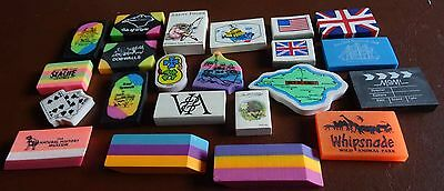 Collection of 22 Rare, Vintage Erasers / Rubbers from the 1990s - Mix of Designs