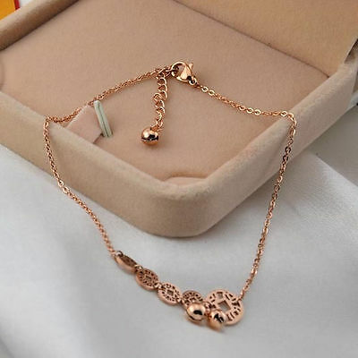 Hot Stainless Steel 14K Rose Gold Coin Bell Charms Chain Bracelet Jewelry Gift