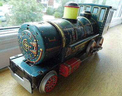 Rare Vintage Tinplate Train Western Modern Toys Made In Japan Display Condition