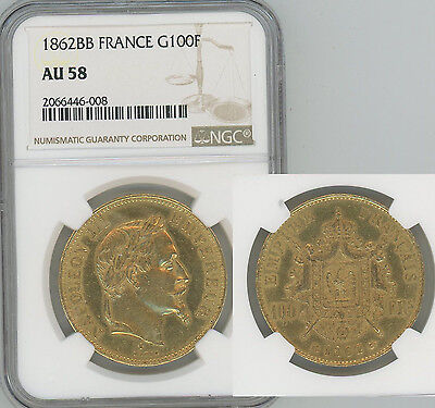 FRANCE 1862-BB gold 100 Francs Napoleon III  NGC AU58  3,078 struck
