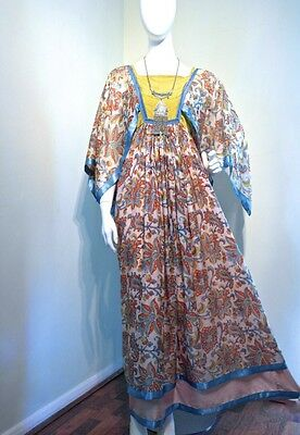Vintage 70s Block print sheer floral Indian maxi dress Size 8 10 Small